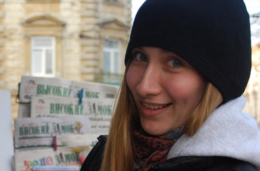 Anna Chashchyna počas pracovnej cesty v Ľvove.